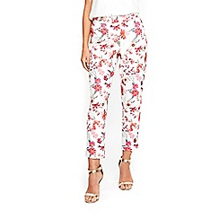Wallis - Petite pink floral print trousers