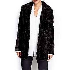 Wallis - Petites black midi faux fur coat
