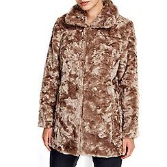 Wallis - Petite mocha midi fur coat