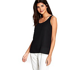 Wallis - Petite black round neck cami