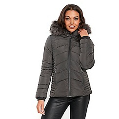 Wallis - Petite grey short padded coat