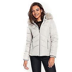 Wallis - Petite light grey short padded coat