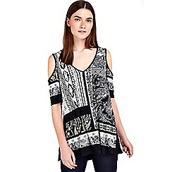 Wallis - Petite neutral paisley tunic top