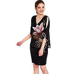 Wallis - Petite black palm dress