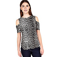 Wallis - Petite animal print cold shoulder top