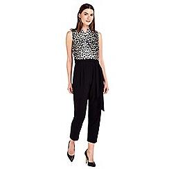 Wallis - Petite black animal print jumpsuit