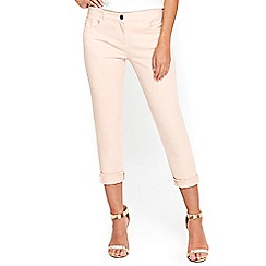 Wallis - Petite pink roll up jeans