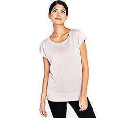 Wallis - Petite blush metallic top