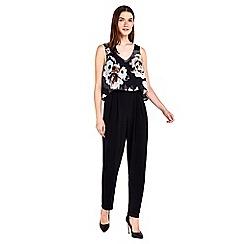 Wallis - Petite black floral overlay jumpsuit