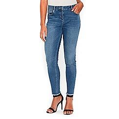 Wallis - Petite blue Ellie frayed hem jeans