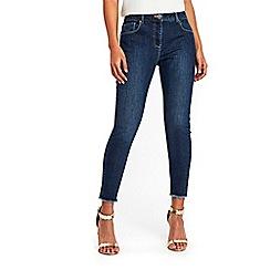 Wallis - Petite midwash ellie frayed hem skinny jeans