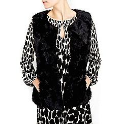 Wallis - Petite black faux fur gilet