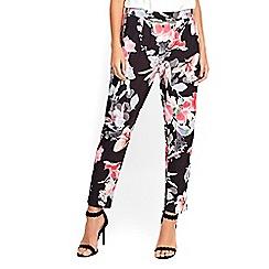 Wallis - Petite black floral trousers