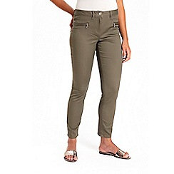 Wallis - Petite khaki side zip trousers
