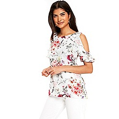 Wallis - Petite grey floral print cold shoulder top