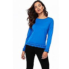Wallis - Petite blue frill detail jumper