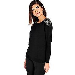 Wallis - Petite black beaded jumper