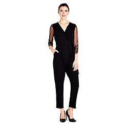 Wallis - Petite black lace jumpsuit