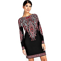 Wallis - Petite black printed tunic