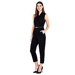 Wallis - Petite black wrap jumpsuit