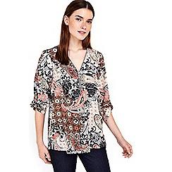 Wallis - Petite paisley zip shirt