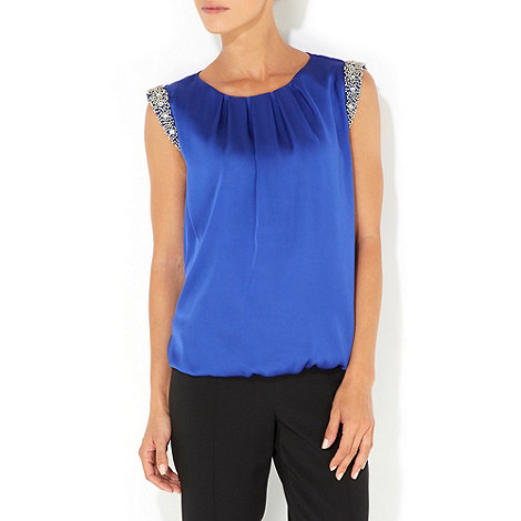 Wallis - Blue petite embellished top