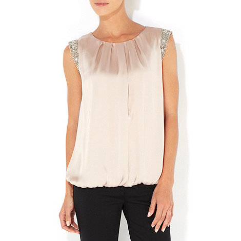 Wallis - Mocha petite embellished top