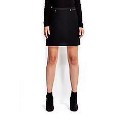 Wallis - Petite black textured A-line