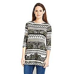 Wallis - Petite khaki paisley stripe top