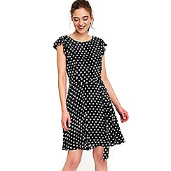 Wallis - Petite black spot fit and flare dress