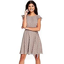 Wallis - Petite taupe spot dress