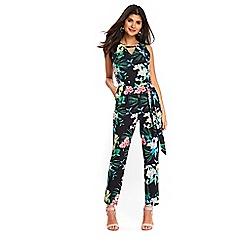 Wallis - Petite black tropical floral jumpsuit