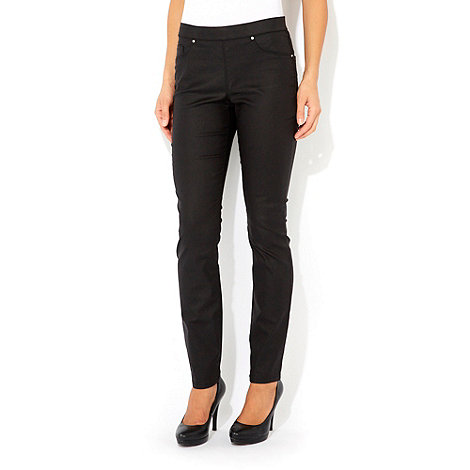 Wallis - Black petite coated jegging
