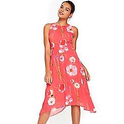 Wallis - Petite pink floral dip hem dress