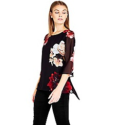 Wallis - Petite red floral top