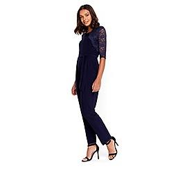 Wallis - Petite navy lace jumpsuit