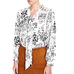 Wallis - Petite monochrome floral pussybow blouse