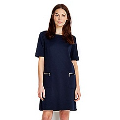 Wallis - Petite navy shift zip dress