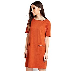 Wallis - Petite rust shift zip dress