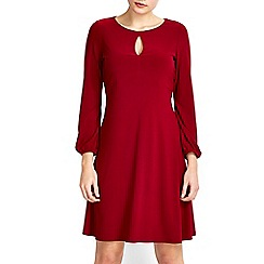 Wallis - Petite claret 70's keyhole swing dress