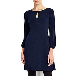 Wallis - Petite navy 70's keyhole swing dress