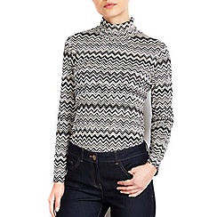 Wallis - Petite printed polo neck top