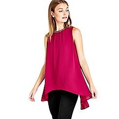 Wallis - Petite pink embellished top