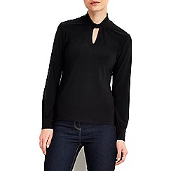 Wallis - Petite black long sleeve polo neck top
