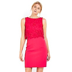 Wallis - Petite pink lace overlay dress