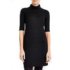 Wallis - Petite black ribbed roll neck dress