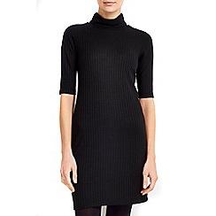 Wallis - Petite black ribbed roll neck dress