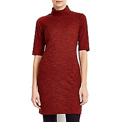 Wallis - Petite rust ribbed roll neck dress