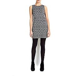 Wallis - Petite monochrome jacquard pinny dress