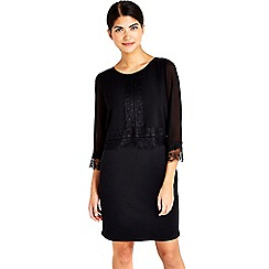 Wallis - Petite black lace trim dress
